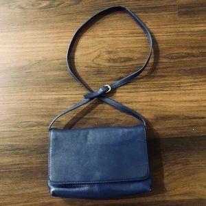 J. Crew Royal Blue Leather Messenger/Clutch